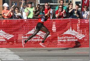 Moses Mosop Bounces on his Forefeet and Floats Through the Air to Win the Chicago Marathon!