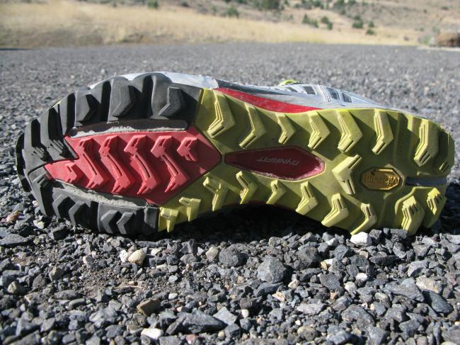 Nice overall outsole that is holding up well and is quite versatile. Noticed exposed forefoot groves, but no rock plate. Still adequate protection but would be a great addition.