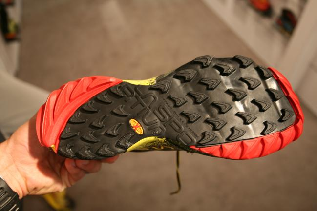Solid outsole design with Sportivas XT rubber which is a mix of XF (sticky) black rubber and AT (durable) red rubber in certain areas.