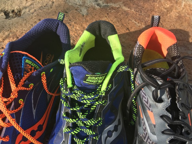 Peregrine 5, Peregrine 6 and Skechers GOtrail Ultra 3 from left to right. P5 has no material change/stitching and Ultra 3 has it wide enough to not be a problem. Peregrine 6 is too narrow and hits my heel bone.