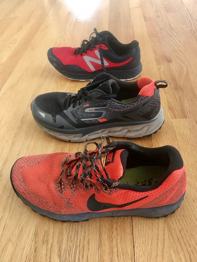 From Bottom to Top: Nike Zoom Wildhorse 3, Skechers GOTrail Ultra 3, and New Balance Fresh Foam Gobi.
