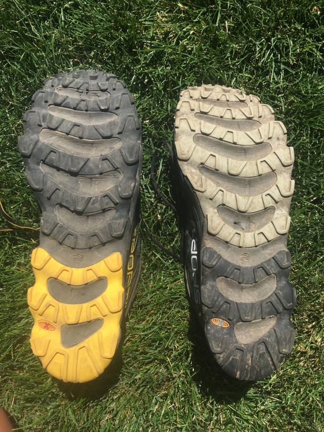 Helios SR on left, 2.0 on right. Of note, SR has durable rubber on heel and sticky on forefoot where 2.0 has durable all over. Also, take a look at that puncture hole from a piece of gravel in the midsole on the 2.0...one of many reasons that I don't prefer large cutouts.